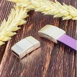5 Fermoirs magnetiques extra securises plaque argent pour cuir 10mm
