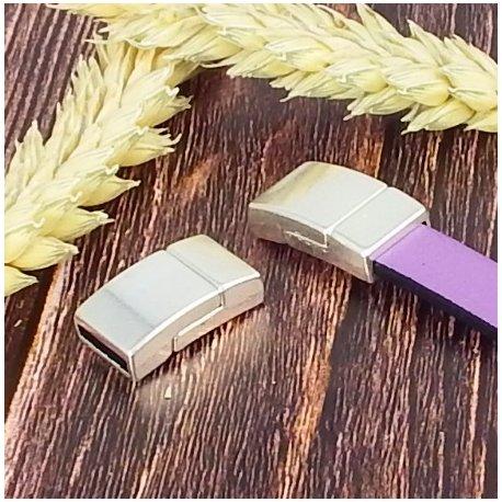 5 Fermoirs magnetiques extra plat plaque argent pour cuir 10mm