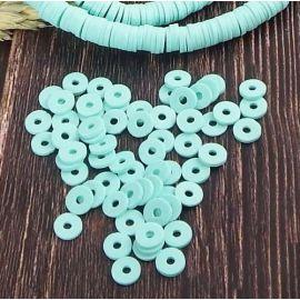 Perles Heishi vert menthe