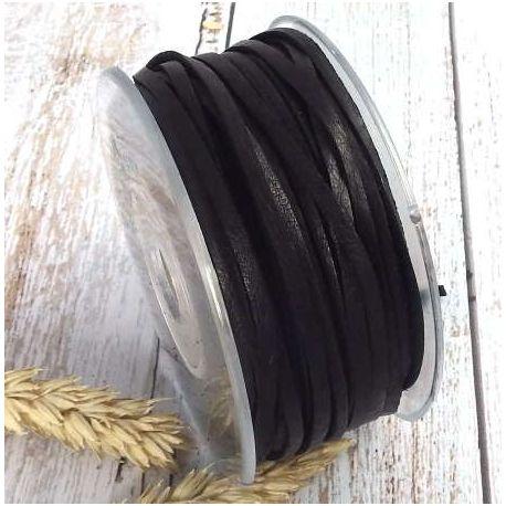 Cuir de cerf plat 3mm noir