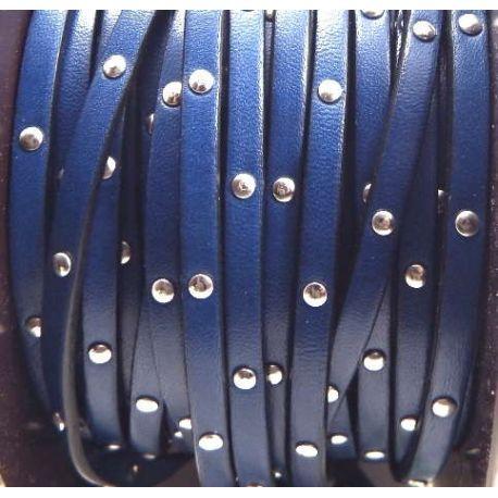 Cuir plat 5mm bleu dur avec clous