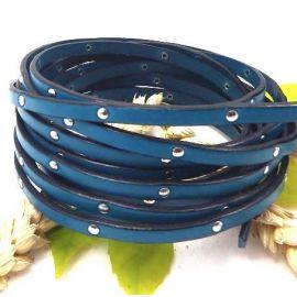 Cuir plat 5mm bleu turquoise avec clous
