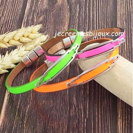 Kit bracelet cuir fluo passant design et fermoir argent