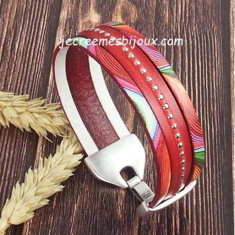 Kit tutoriel bracelet cuir rouge pop clous argent et argent