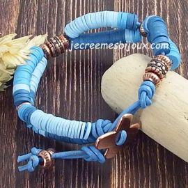 Kit tutoriel bracelet cuir bleu vif perles Heishi et cuivre