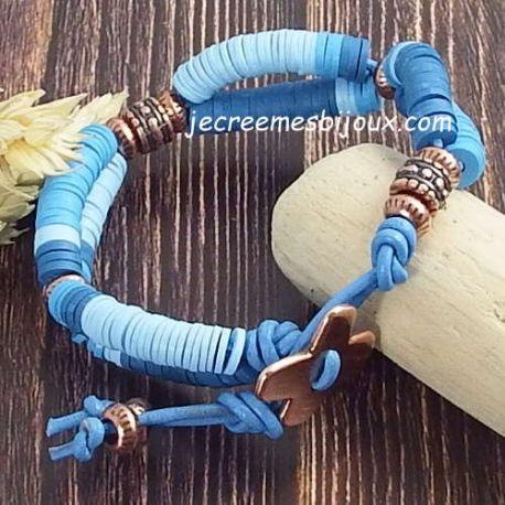 Kit tutoriel bracelet cuir brique perles verre picasso antiques et bronze