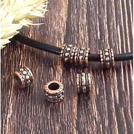 4 perles rondes ethniques zamak cuivre haute qualite interieur 4mm