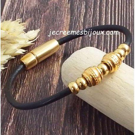 Kit bracelet cuir noir perles et fermoir ethniques or, tutoriel offert