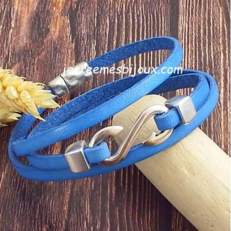Kit bracelet cuir bleu jean crochet et fermoir argent