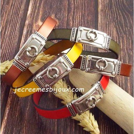 Kit bracelet cuir couleur style harnais avec argent