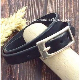 Bracelet cuir noir personnalisable avec fermoir ceinture argent
