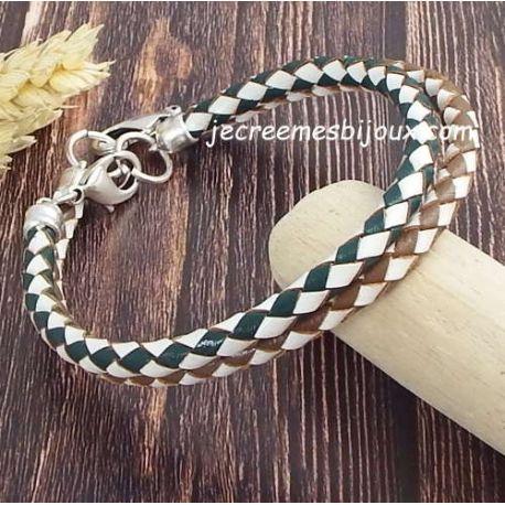 Kit bracelet cuir tresse couleur au choix fermoir mousqueton argent