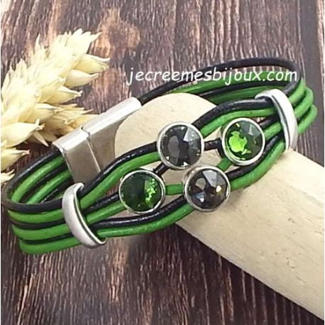 Kit bracelet cuir noir et vert cristaux swarovski assortis et fermoir argent