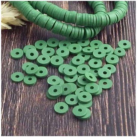Perles Heishi vert jardin