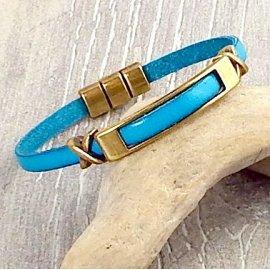 Kit bracelet cuir turquoise et bronze 2961