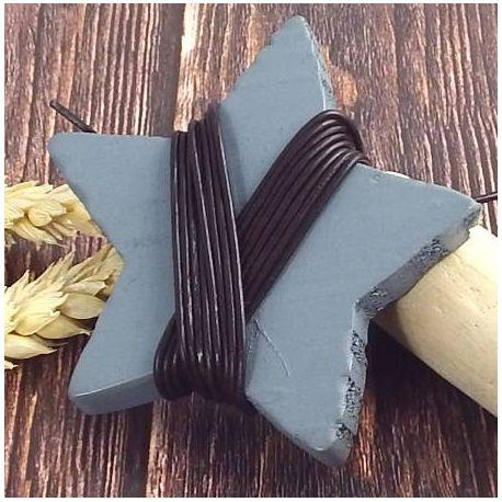 Cordon cuir bleu marron 1.5mm