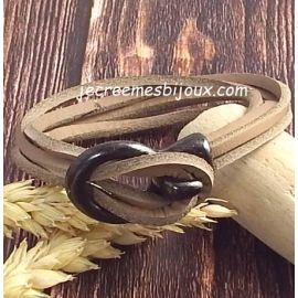 Kit tutoriel bracelet cuir nautic beige crochet gun metal