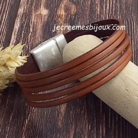 Kit bracelet cuir camel 5 bandes fermoir argent