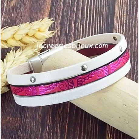 Kit tutoriel bracelet cuir blanc fuchsia vagues metal argent