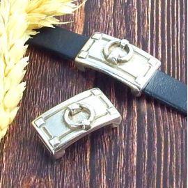 Passant style harnais argent cuir plat 10mm