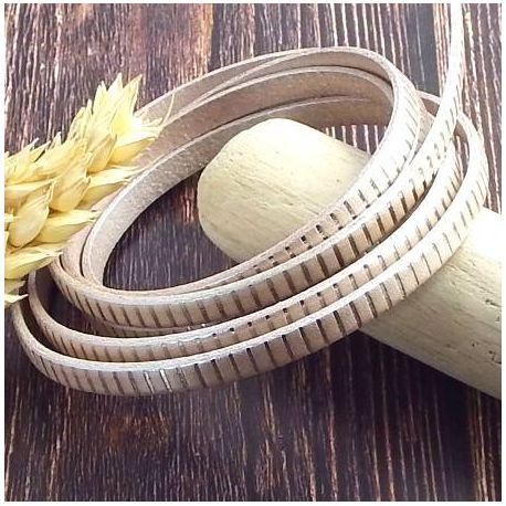 Cuir plat 5mm ivoire metal raye argent