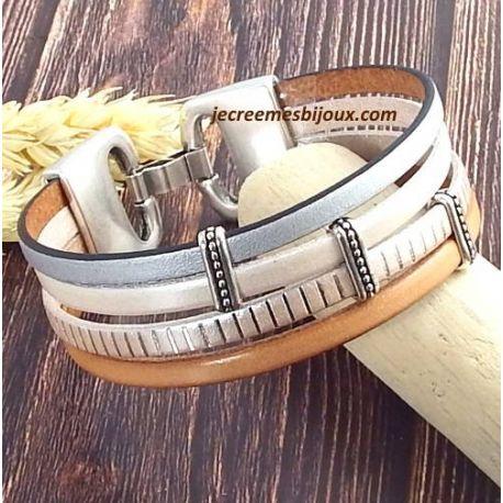 Kit bracelet cuir nude et argent fermoir argent