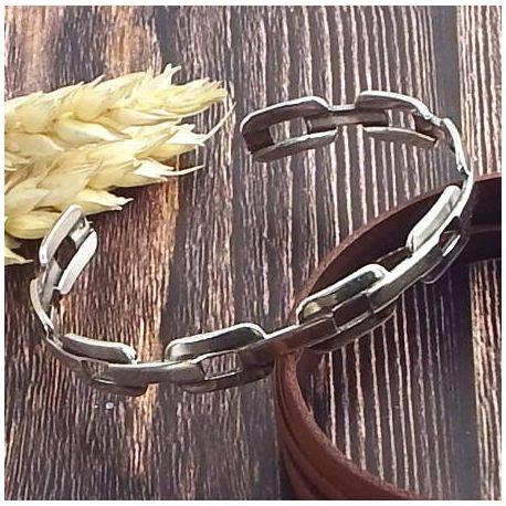 Bracelet laiton style chaine plaque argent ajustable