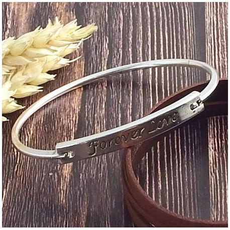 Bracelet forever love en laiton plaque argent