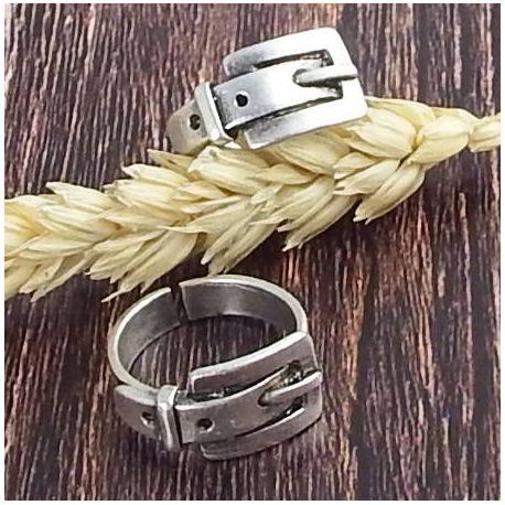 Bague style ceinture ajustable en laiton plaque argent