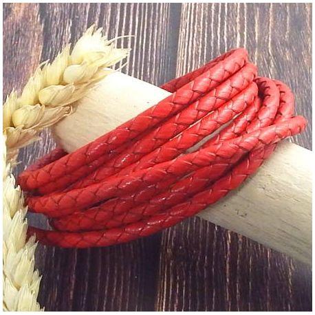 Cordon cuir rond tresse rouge 4MM par 20cm