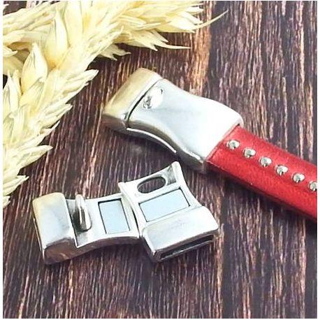 Fermoir magnetique argente decoupe cote pour cuir plat 10mm
