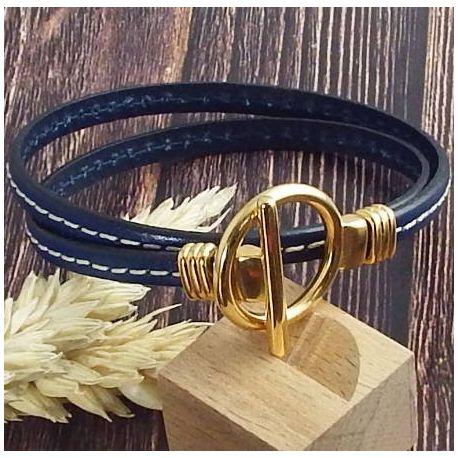Kit bracelet bleu marine couture fermoir toogle or