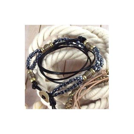 Kit tutoriel bracelet cuir 3 tours perles verre antiques et bronze