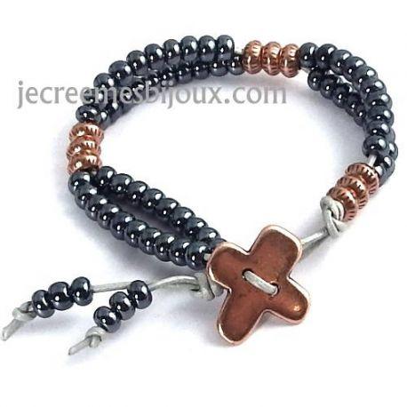 Kit tutoriel bracelet cuir argent avec perles verre jet irise et cuivre