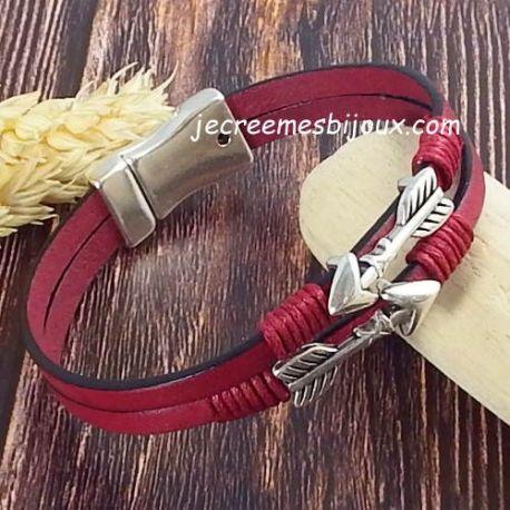 Kit bracelet cuir bordeaux fleches argent
