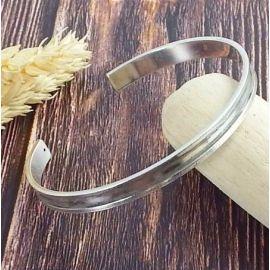 Support bracelet laiton argente a personnaliser avec cuir 3mm