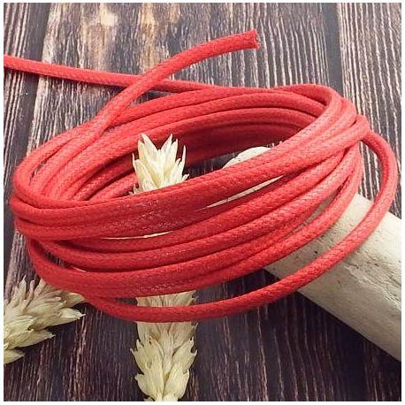 Cordon coton cire 3mm rouge par 2 metres