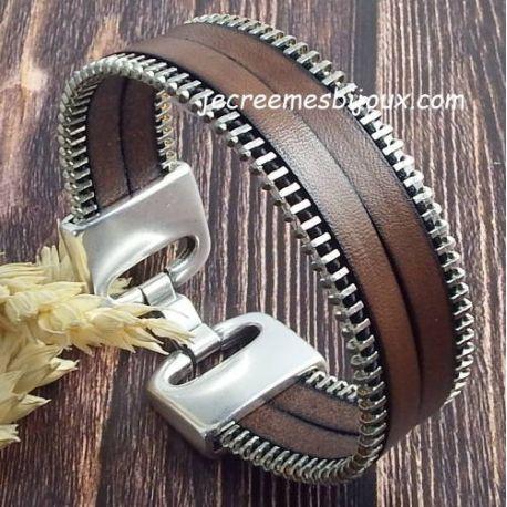 Kit bracelet cuir marron avec zip argent top tendance