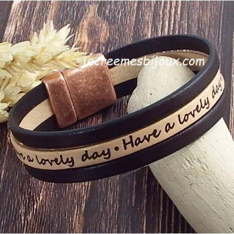 Kit tutoriel bracelet cuir naturel et marron lovely day