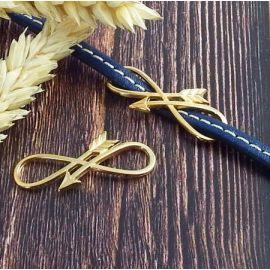 Passant intercalaire fleche infinie or pour cuir plat 5mm