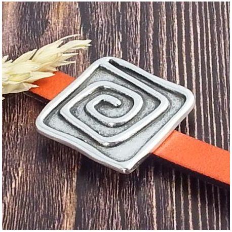 Passant spirale carrée argent pour cuir plat 20mm