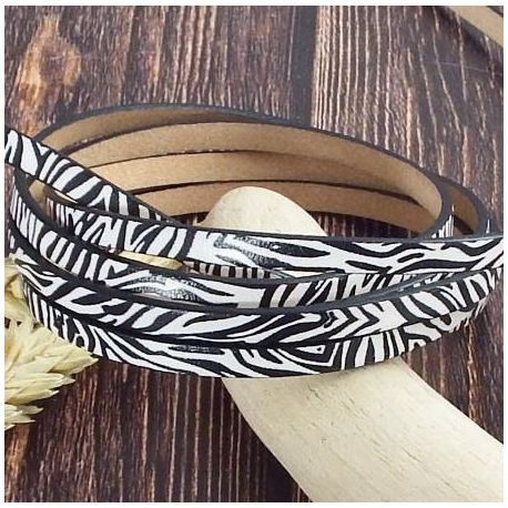 Cuir plat 5mm zebre blanc et noir haute qualite