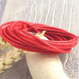 Cordon coton cire 2mm rouge par 2 metres