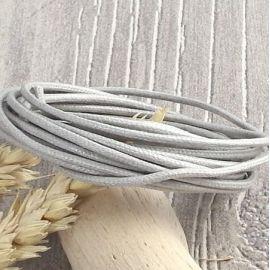 Cordon coton cire 2mm gris clair par 2 metres