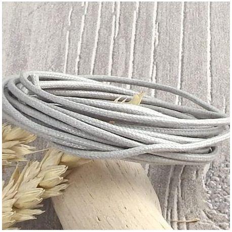 5 Mètres Gris pour Colliers et Bracelets de perles Cordon Coton Ciré 0,5mm