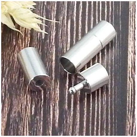 Fermoir pression tres resistant couleur inox pour cuir rond 6mm