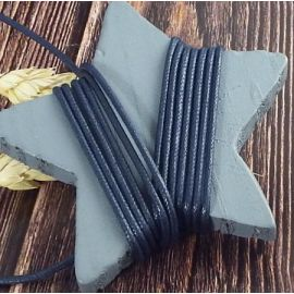 Cordon coton cire 2mm bleu marine par 2 metres