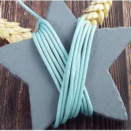 Cordon coton cire 2mm bleu bleu aqua par 2 metres