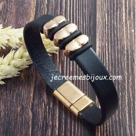 Kit bracelet cuir et or rose fashion top