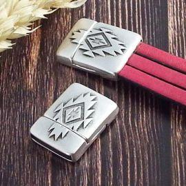 Fermoir magnetique aztèque argent pour cuir 15mm
